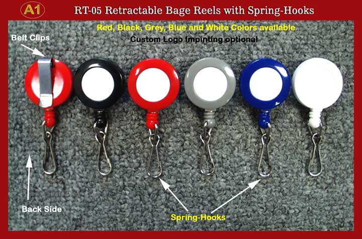 RT-05 Retractable Name Badge Reels with Spring Hooks for Badge holders or Badge