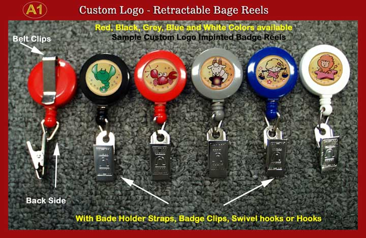 Custom Logo Retractable Reels with Badge Clips for Name Badge holders or ID Card